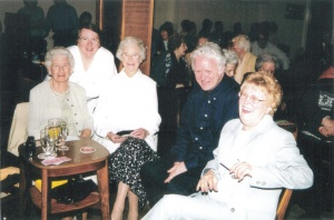 Father Heaney with parishioners at the church's 50th anniversary in 2001