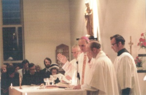 Bishop Foley at the opening of the new church in September 1975